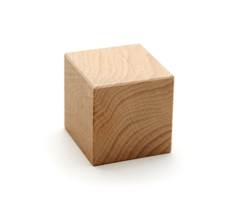 wooden geometric shapes cube  isolated on a white background