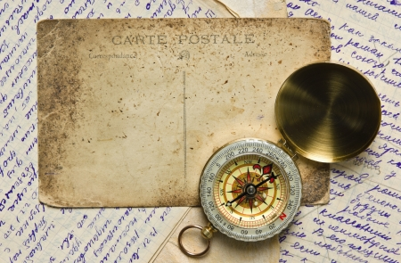 Vintage background with old postcard and letters