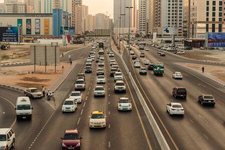 SHARJAH, UAE - OCTOBER 28, 2013: Sharjah - general view. Sharjah is located along northern coast of Persian Gulf on Arabian Peninsula