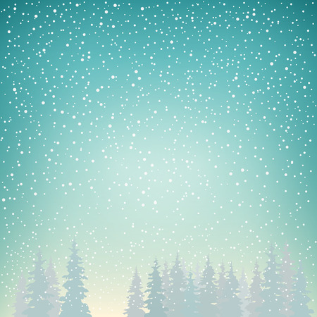 Snowfall, Snow Falls on the Spruce, Snowfall in the Forest, Fir Trees in Winter in Snowfall, Winter Background, Christmas Winter Landscape in Turquoise Shades, Vector Illustration