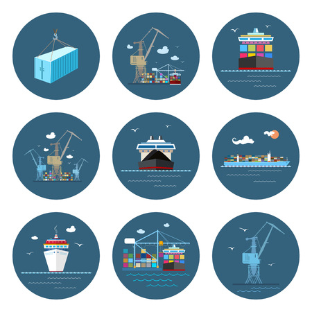 Illustration pour Set of Cargo Icons, Dry Cargo Ship and Container Ship, Unloading Containers from a Cargo Ship in a Docks with Cargo Crane, Container , Crane at the Port, International Freight Transportation, Vector - image libre de droit
