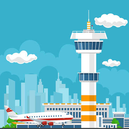 Arrivals at Airport, Control Tower and Airplane on the Background of the City, Travel and Tourism Concept , Air Travel and Transportation, Vector Illustration