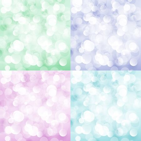 Set of Soft Bright Abstract Bokeh Background, Soft Glow of the Sun , Colorful Defocused Lights, Vector Illustration