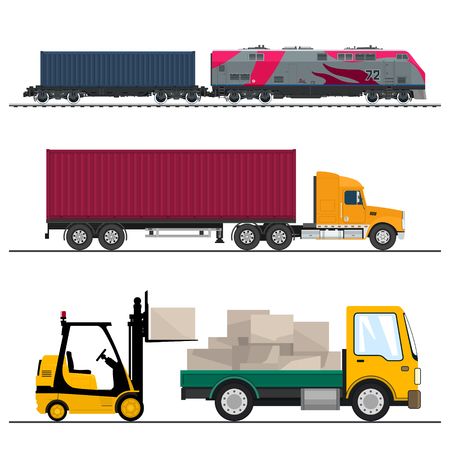 Ilustración de Set of Overland Freight Transport, Truck and Small Lorry with Boxes and Forklift Truck, Locomotive with Cargo Container , Shipping and Freight of Goods, Vector Illustration - Imagen libre de derechos