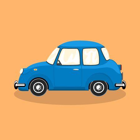Illustration pour Blue retro car isolated on orange background, vector illustration - image libre de droit