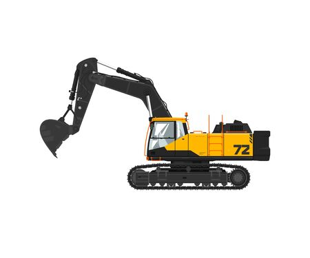 Illustration for Digger hydraulic excavator with dipper isolated on white background, vector illustration - Royalty Free Image