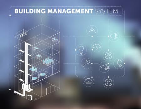 Foto de Building Management System Concept on Blurred Background - Imagen libre de derechos