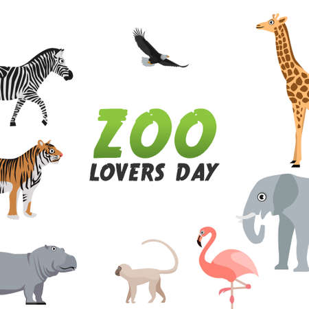 Illustration pour vector graphic of zoo lovers day good for zoo lovers day celebration. flat design. flyer design.flat illustration. - image libre de droit