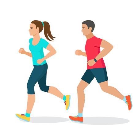 Foto de running man and woman , fitness concept, fitness tracker - Imagen libre de derechos