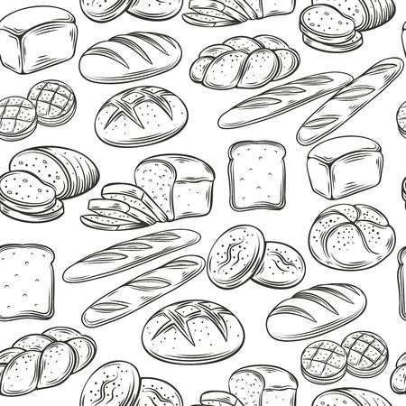 Illustration pour Bakery Decorative Seamless Pattern. Hand Draw Bread. Vector Illustration. - image libre de droit