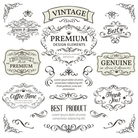 Illustration for Calligraphic Design Elements . Decorative Swirls,Scrolls, Dividers and Page Decoration.  Vintage Vector Illustration. - Royalty Free Image