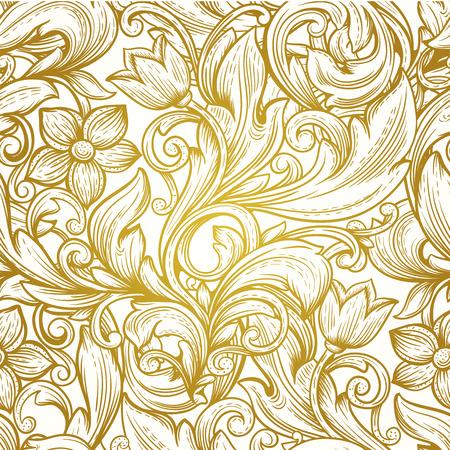 Ilustración de vintage gold  victorian  floral luxury vector seamless  pattern - Imagen libre de derechos