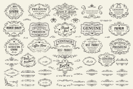 Ilustración de Calligraphic Design Elements . Decorative Swirls Scrolls  Frames Labels and Dividers. Vintage Vector Illustration. - Imagen libre de derechos