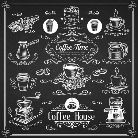 Illustration pour Decorative vintage coffee icons.  Ink vintage design for coffee shop. Vector design elements  of coffee and calligraphy swirl. - image libre de droit