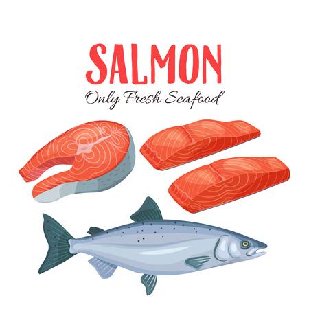 Illustration pour Set salmon vector illustration. Fillet, steak and fish salmon in cartoon style. Seafood product design. - image libre de droit