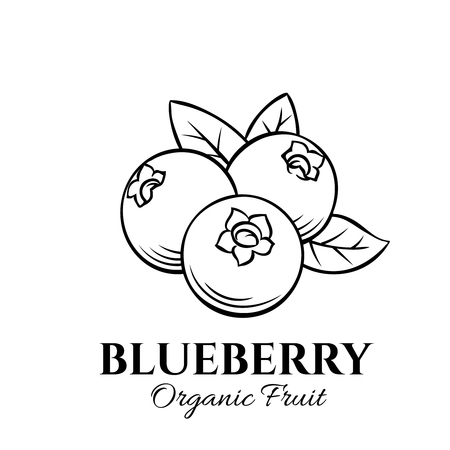 Illustration pour Hand drawn blueberry icon. Vector badge fruit in the old ink style for brochures, banner, restaurant menu and market - image libre de droit