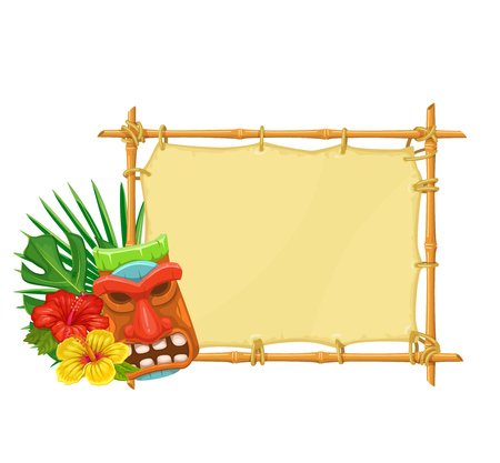 Illustration for Bamboo signboard with tiki tribal wooden mask and hibiscus flowers. Illustration for design hawaiian party. - Royalty Free Image