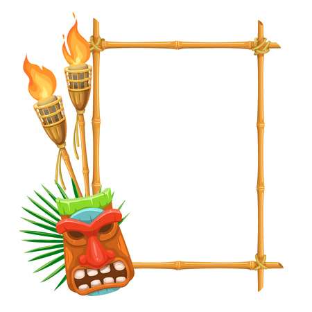 Illustration for Vector bamboo signboard with tiki tribal wooden mask and torch. Illustration for design hawaiian party. - Royalty Free Image
