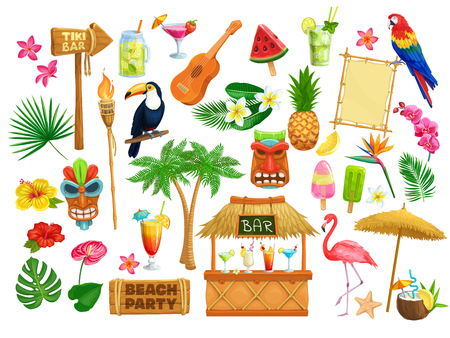 Illustration for Vector hawaiian beach party icons. Tiki tribal mask, wooden signboard, tropical birds, cocktails, watermelon, torch, leaves and flowers. Guitar, fruit ice and pineapple for design luau holiday. - Royalty Free Image