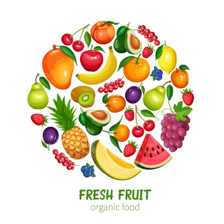 Illustration pour Berries and Fruits Design Healthy Food in Cartoon Style. Raspberries, Strawberries, Grapes, Currants and Blueberries. Lemon, Peach, Apple or Pear, Orange, Watermelon, Avocado and Pineapple - image libre de droit