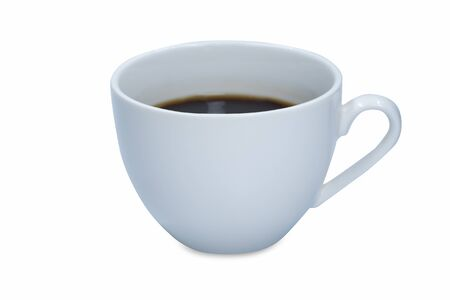 Photo pour White cup of hot black coffee isolated on white background. - image libre de droit