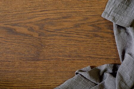 Foto für Flat lay, View from above empty kitchen table with napkin. Old cooking wooden table. Top view with copy free space. - Lizenzfreies Bild
