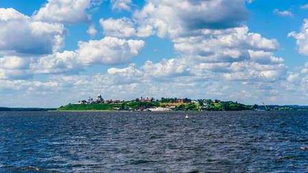 Rural Island of Christianity Sviyazhsk in Russia with Beautiful Churchs, Temples and Monasteries. View from Boat.