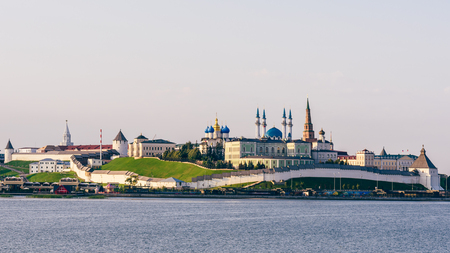 View of the Kazan Kremlin with Presidential Palace, Annunciation Cathedral, Soyembika Tower and Qolsharif Mosque from Kazanka River.