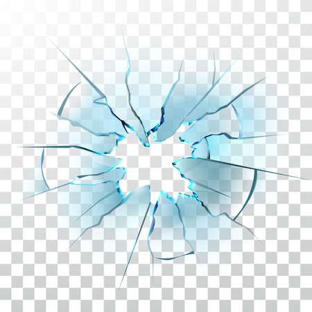 Illustration for Smashed Glass Window Smashed Bullet Hole Vector. Crashed Car Windshield , Damaged And Shattered Transparency Glass. Destruction Texture Material Transparent Layout Realistic 3d Illustration - Royalty Free Image