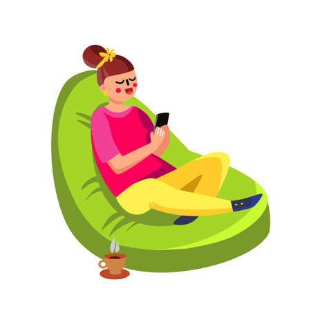 Illustration pour Girl Sitting In Beanbag And Using Cell Phone Vector. Happy Smiling Young Woman Sit In Beanbag With Smartphone And Coffee Cup. Character In Comfortable Fluffy Chair Flat Cartoon Illustration - image libre de droit
