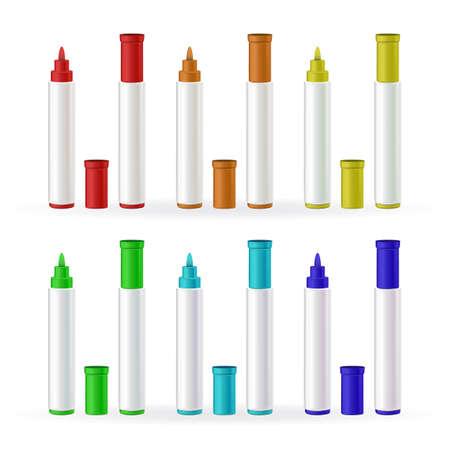 Illustration pour Marker Pens Stationery Different Color Set Vector - image libre de droit