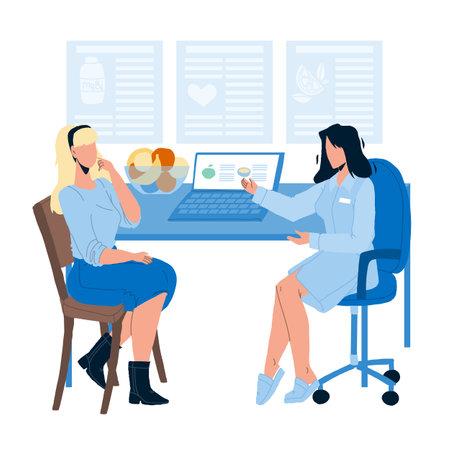 Illustration pour Nutritionist Giving Consultation To Patient flat Vector - image libre de droit
