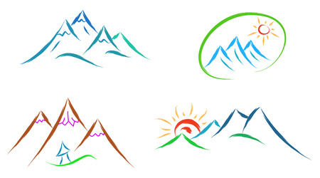 Illustration pour mountain logo set of icons isolated on white background - image libre de droit