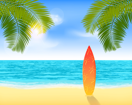 Surfboard standing on a sandy beach near a sea. Bright summer vacation background with sea view and palms