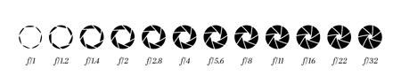 Illustration for Camera lens diaphragm row with aperture value numbers. - Royalty Free Image