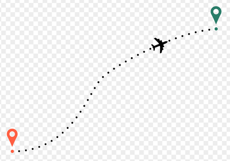 Ilustración de Airplane trace with points of departure and arrival. on transparent background - Imagen libre de derechos