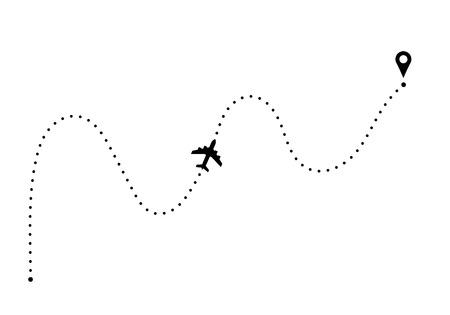 Illustration pour Plane route with point of departure and arrival - image libre de droit