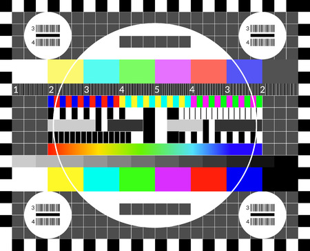 Illustration for Retro tv test screen. Old calibration chip chart pattern - Royalty Free Image