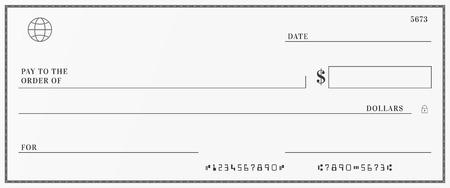 Ilustración de Blank template of the bank check. Checkbook cheque page with empty fields to fill - Imagen libre de derechos