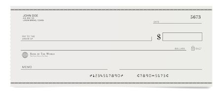 Illustration for Torn off blank bank cheque. Personal desk check template. - Royalty Free Image