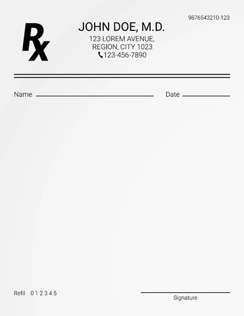Illustration pour Blank Rx prescription form. Medical treatment and drugs list - image libre de droit