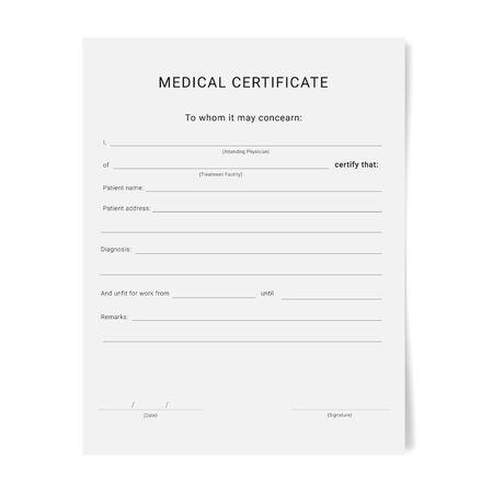 Illustration pour Medical certificate form. Sick leave pad template. - image libre de droit