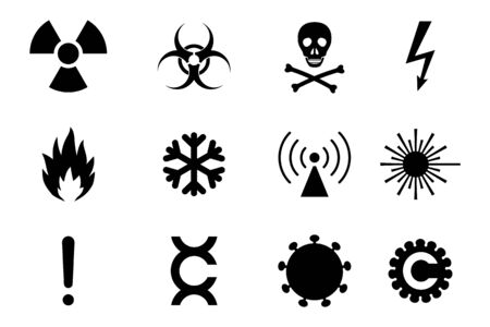 Illustration pour Varied danger and hazard symbols. Simple icons of a common jeopardies - image libre de droit