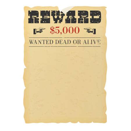 Illustration pour Wanted dead or alive placard blank template - image libre de droit