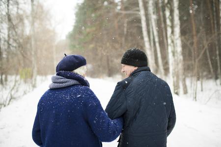 Photo pour Senior Couple in Winter Forest Back View - image libre de droit