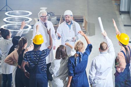 Photo pour Meeting with Factory Management - image libre de droit