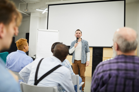 Photo for Startup entrepreneur presenting his project at conference - Royalty Free Image
