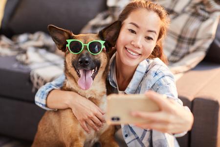 Photo pour Funny Portrait with Dog - image libre de droit