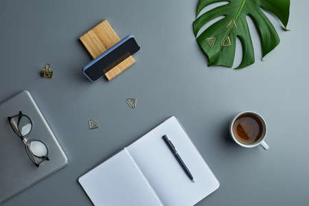 Photo for Minimal above view flat lay of tropical leaf and business accessories over grey workplace background, copy space - Royalty Free Image