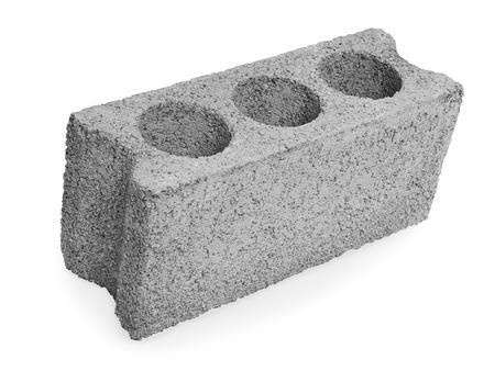Concrete hollow block construction on a white background